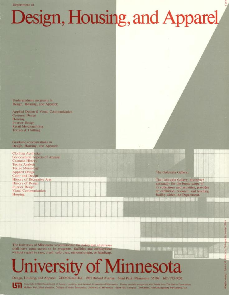 Cover of Design, Housing, and Apparel brochure/booklet/poster